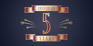 5 years anniversary celebration vector icon, logo. Template design element with golden number and swirl fireworks for 5th anniversary greeting card Royalty Free Stock Photography