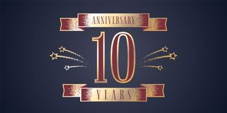10 years anniversary celebration vector icon, logo Stock Image