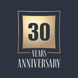 30 years anniversary celebration vector icon, logo. Template design element with golden number for 30th anniversary greeting card Royalty Free Stock Photos
