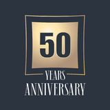 50 years anniversary celebration vector icon, logo. Template design element with golden number for 50th anniversary greeting card Stock Image