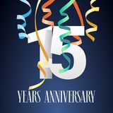 15 years anniversary celebration vector icon, logo. Template design element with modern paper cut out number and garlands for 15th anniversary card Royalty Free Illustration