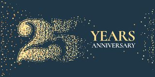 25 years anniversary celebration vector icon, logo. Template horizontal design element with golden glitter stamp for 25th anniversary greeting card Royalty Free Stock Photos