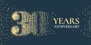 30 years anniversary celebration vector icon, logo. Template horizontal design element with golden glitter stamp for 30th anniversary greeting card Stock Photography