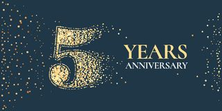 5 years anniversary celebration vector icon, logo. Template horizontal design element with golden glitter stamp for 5th anniversary greeting card vector illustration