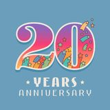 20 years anniversary celebration vector icon, logo. Template design element with bright colored number for 20th anniversary greeting card Royalty Free Stock Photography