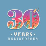 30 years anniversary celebration vector icon, logo. Template design element with bright colored number for 30th anniversary greeting card Royalty Free Stock Photo