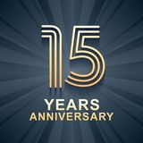 15 years anniversary celebration vector icon, logo. Template design element with gold color age for 15th anniversary card stock illustration
