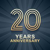 20 years anniversary celebration vector icon, logo. Template design element with gold color age for 20th anniversary card royalty free illustration