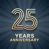 25 years anniversary celebration vector icon, logo. Template design element with gold color age for 25th anniversary card Stock Photos