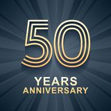 50 years anniversary celebration vector icon, logo. Template design element with gold color age for 50th anniversary card stock illustration