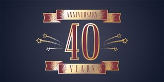 40 years anniversary celebration vector icon, logo. Template design element with golden number and swirl fireworks for 40th anniversary greeting card Stock Images