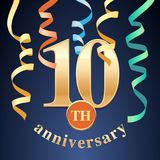 10 years anniversary celebration vector icon, logo Royalty Free Stock Images