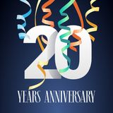 20 years anniversary celebration vector icon, logo Stock Images