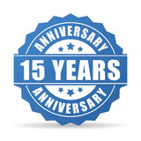 15 years anniversary celebration vector icon. On white background stock illustration