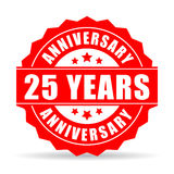 25 years anniversary celebration vector icon. On white background Royalty Free Stock Photos