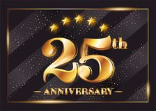 25 Years Anniversary Celebration Vector Logo. 25th Anniversary. 25 Years Anniversary Celebration Vector Logo. 25th Anniversary Gold Icon with Stars and Frame stock illustration