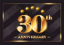 30 Years Anniversary Celebration Vector Logo. 30th Anniversary. 30 Years Anniversary Celebration Vector Logo. 30th Anniversary Gold Icon with Stars and Frame Royalty Free Stock Image