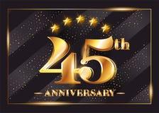 45 Years Anniversary Celebration Vector Logo. 45th Anniversary. 45 Years Anniversary Celebration Vector Logo. 45th Anniversary Gold Icon with Stars and Frame Stock Photo