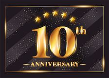 10 Years Anniversary Celebration Vector Logo. 10th Anniversary. 10 Years Anniversary Celebration Vector Logo. 10th Anniversary Gold Icon with Stars and Frame Royalty Free Stock Image