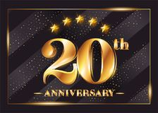 20 Years Anniversary Celebration Vector Logo. 20th Anniversary. 20 Years Anniversary Celebration Vector Logo. 20th Anniversary Gold Icon with Stars and Frame Royalty Free Stock Image