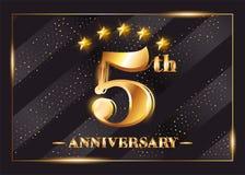 5 Years Anniversary Celebration Vector Logo. 5th Anniversary. 5 Years Anniversary Celebration Vector Logo. 5th Anniversary Gold Icon with Stars and Frame stock illustration
