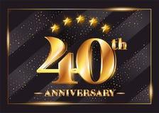 40 Years Anniversary Celebration Vector Logo. 40th Anniversary. 40 Years Anniversary Celebration Vector Logo. 40th Anniversary Gold Icon with Stars and Frame Stock Illustration