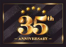 35 Years Anniversary Celebration Vector Logo. 35th Anniversary. 35 Years Anniversary Celebration Vector Logo. 35th Anniversary Gold Icon with Stars and Frame Royalty Free Stock Photo