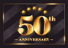 50 Years Anniversary Celebration Vector Logotype. 50th Anniversary Gold Badge with Glitter. Luxury Shiny Design for Greeting Card, Invitation, Congratulation Royalty Free Stock Image