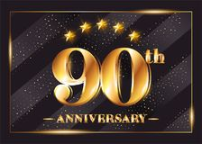 90 Years Anniversary Celebration Vector Logotype. Stock Photos