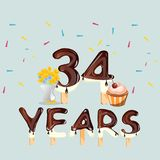 34 years anniversary celebrations card Stock Images