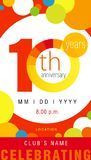 10 years anniversary chart celebration card Royalty Free Stock Photography