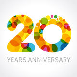 20 years anniversary circle colorful logo. 20 years old multicolored logotype. Anniversary 20th greetings, congratulations pattern template. Isolated shape Stock Image