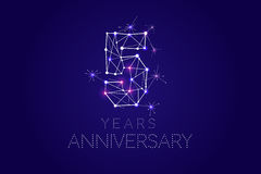 5 years Anniversary design. Abstract form with connected lines a. Nd light dots. Vector Illustration Royalty Free Stock Photos