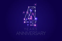 4 years Anniversary design. Abstract form with connected lines a. Nd light dots. Vector Illustration Stock Photography