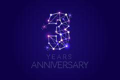 3 years Anniversary design. Abstract form with connected lines a. Nd light dots. Vector Illustration Royalty Free Stock Photo