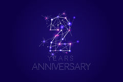 2 years Anniversary design. Abstract form with connected lines a. Nd light dots. Vector Illustration Royalty Free Stock Photos