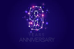 9 years Anniversary design. Abstract form with connected lines. And light dots. Vector Illustration Stock Images