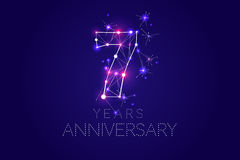 7 years Anniversary design. Abstract form with connected lines. And light dots. Vector Illustration Royalty Free Stock Photography