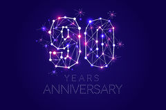 90 years Anniversary design. Abstract form with connected lines. And light dots. Vector Illustration Stock Images