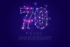 70 years Anniversary design. Abstract form with connected lines. And light dots. Vector Illustration Royalty Free Stock Photography