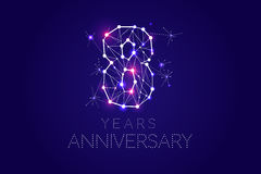 8 years Anniversary design. Abstract form with connected lines. And light dots. Vector Illustration Stock Image