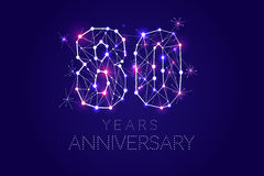 80 years Anniversary design. Abstract form with connected lines. And light dots. Vector Illustration Stock Photos