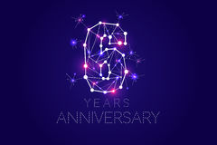 6 years Anniversary design. Abstract form with connected lines. And light dots. Vector Illustration Stock Photo