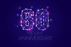 60 years Anniversary design. Abstract form with connected lines. And light dots. Vector Illustration Stock Image