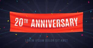 20 years anniversary design celebration. Red flag anniversary bithday decoration party event 20th.  vector illustration