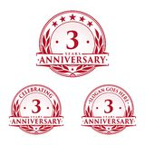 3 years anniversary design template. Anniversary vector and illustration. 3rd logo. 3 years anniversary design template. 3 years celebrating vector and vector illustration