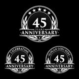 45 years anniversary design template. Anniversary vector and illustration. 45th logo. 45 years anniversary design template. 45 years celebrating vector and royalty free illustration