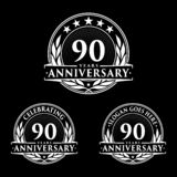 90 years anniversary design template. Anniversary vector and illustration. 90th logo. 90 years anniversary design template. 90 years celebrating vector and stock illustration