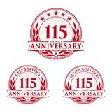 115 years anniversary design template. Anniversary vector and illustration. 115th logo. 115 years anniversary design template. 115 years celebrating vector and royalty free illustration