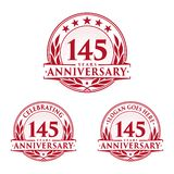 145 years anniversary design template. Anniversary vector and illustration. 145th logo. 145 years anniversary design template. 145 years celebrating vector and stock illustration